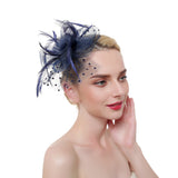 Flower Feather & Polka Dot Fascinator