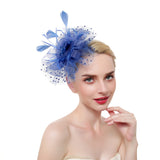 Feather Flower Pearl & Polka Dot Fascinator