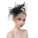 Tulle Cloche With Flower Feather & Polka Dot Fascinator
