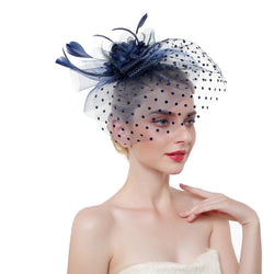 Flower & Feather with Dot Net Fascinator