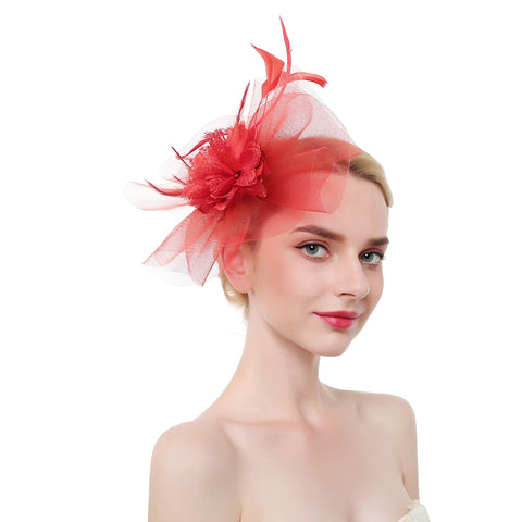 Flower Feather & Multi Layer Tulle Fascinator