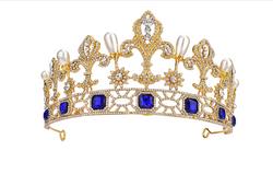 Large Gold-tone Crown Tiara with Blue Diamante and Pearl