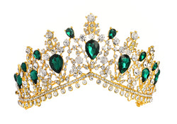 Large Gold-tone Crown Tiara with Green Diamante