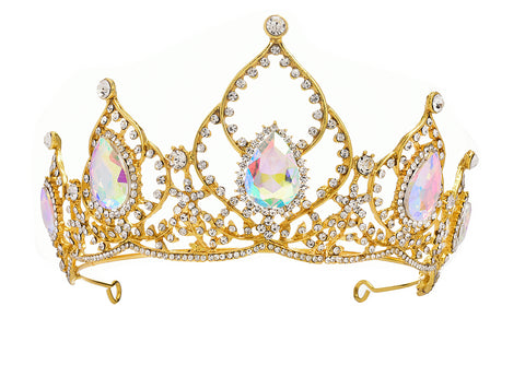 Large Gold-tone Tiara with large Diamante