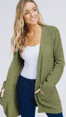 Let's Relax Cardigan in Olive