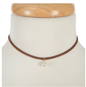 Brown Suede & Pearl Choker Necklace