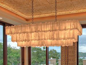 Giant Selenite 3 tier rectangle chandelier