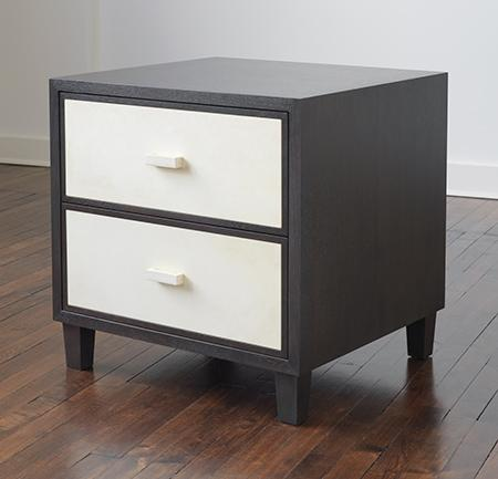 2-Drawer Oak and Vellum Nightstandwith Wood Top and Sides