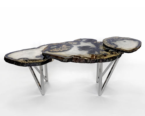 3 Tier Agate Table with Split V Leg Base