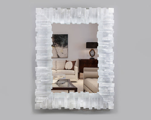 Rectangle Selenite Mirror with Toothy Profile