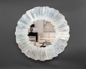 Round Selenite Mirror with Toothy Profile
