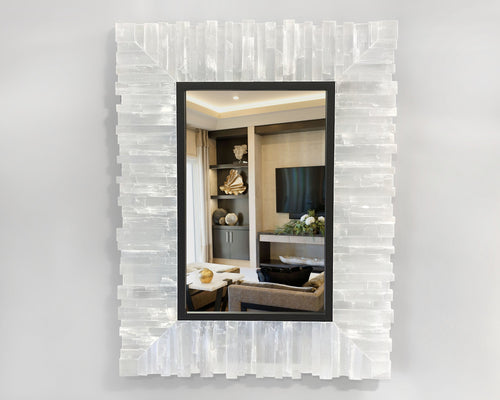 Rectangle Framed Selenite Mirror with Toothy Profile