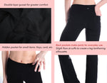 "Yogipace, Back Pockets, 27""/29""/31""/33""/35""/37"", Women's Bootcut Yoga Pants (Black)"