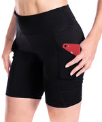 "Yogipace, Women's 7""/10"" UPF 50+ Compression Active Workout Shorts Bike Shorts, Side Pockets (Black)"