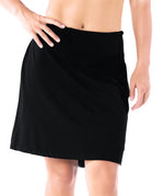 "Yogipace, Women's 17"" Long Running Skirt Athletic Golf Tennis Skort, Built in Shorts (Black/Navy blue)"