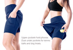 "Yogipace, Women's 17"" Long Running Skirt Athletic Golf Tennis Skort, Built in Shorts (Navy blue)"