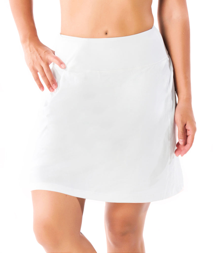 "Yogipace, Women's 17"" Long Running Skirt Athletic Golf Tennis Skort, Built in Shorts (White)"