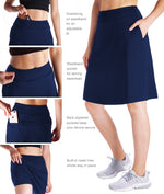 "Yogipace Women's 4 Pockets 20"" Modest Knee Length Skirt Long Running Golf Tennis Skort (Navy blue)"