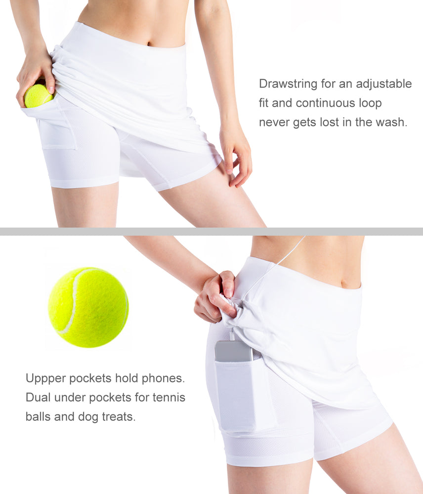 "Yogipace Women's 4 Pockets UV Protection 20"" Modest Knee Length Skirt Athletic Running Golf Tennis Skort Zippered Pockets (White)"