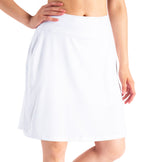 "Yogipace, Women's 20"" Long Running Skirt Athletic Golf Tennis Skort, Built in Shorts (White)"