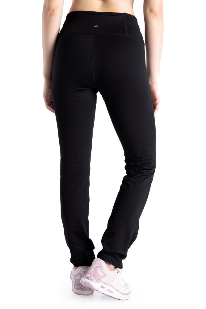 "Yogipace 27""/29""/31""/33""/35""/37"" Women's Fleece Lined Thermal Yoga Straight Leg Winter (Black)"