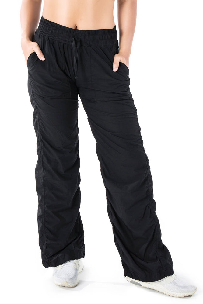 Yogipace Women's Lightweight Quick Dry Dance Studio Yoga Travel Pants Wrinkle Resistant (Black)