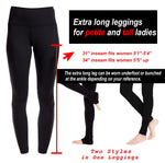 "Yogipace Tall Women's 34"" High Waisted Goddess Yoga Over The Heel Leggings (Navy blue)"