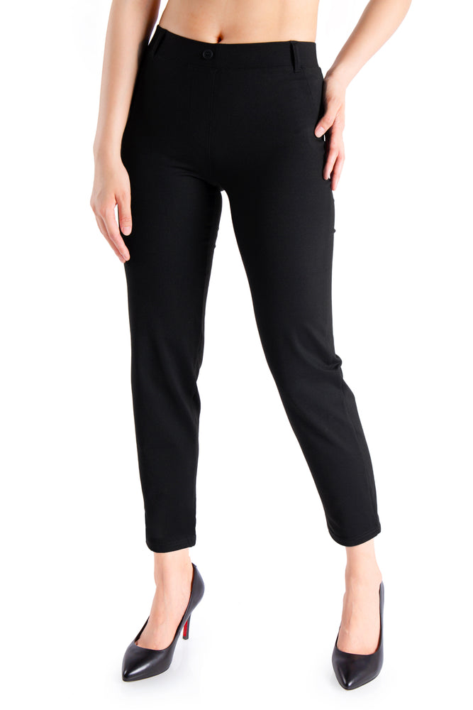 Yogipace Women's Petite/Regular/Tall Dress Pants Skinny Pant Yoga Work Leggings Cigarette Style (Black)