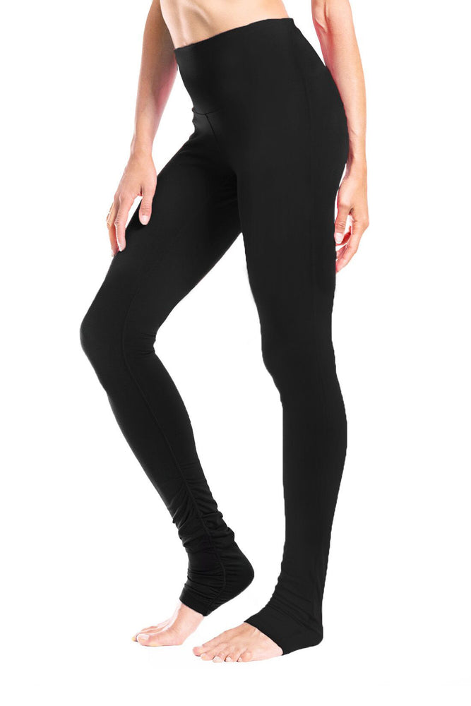 "Yogipace Tall Women's 34"" High Waisted Goddess Yoga Over The Heel Leggings (Black)"