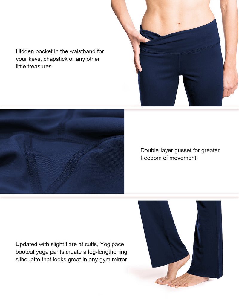 "Yogipace, 27""/28""/29""/30""/31""/32""/33""/35""/37"", Women's Bootcut Yoga Pants (Navy blue)"