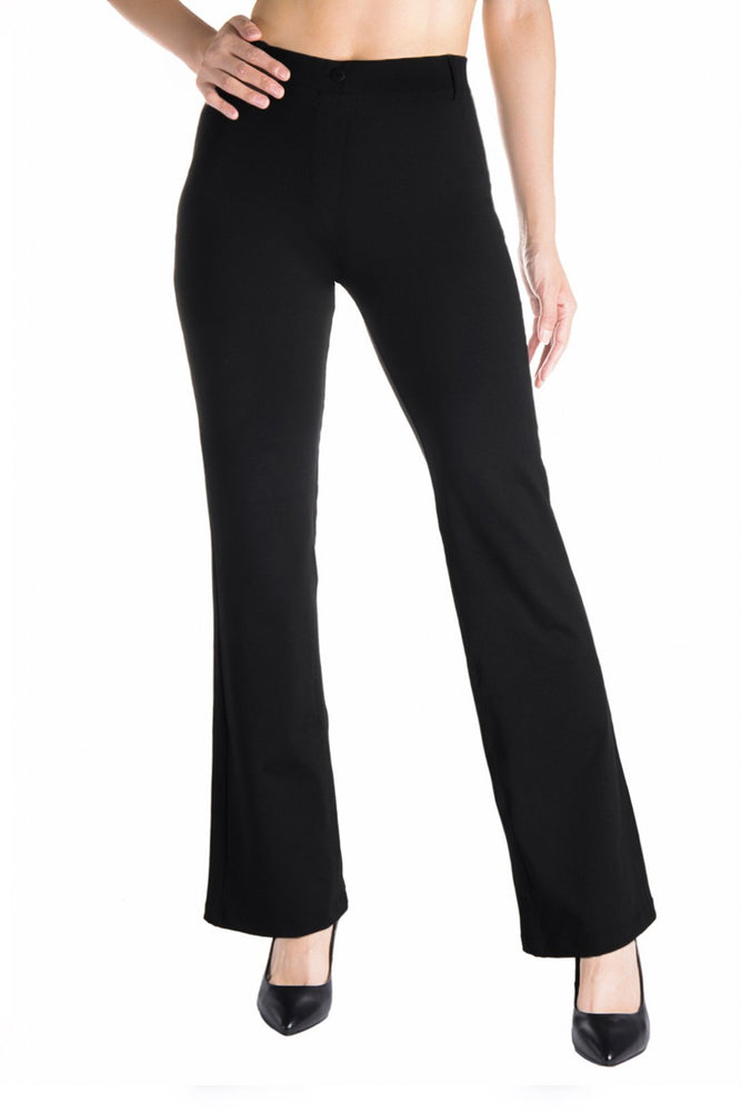 Yogipace,Belt Loops,Women's Petite/Regular/Tall Bootcut Dress Yoga Work Pants (Black/Navy blue)