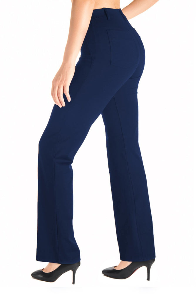Yogipace,Belt Loops,Women's Petite/Regular/Tall Bootcut Dress Yoga Work Pants (Navy blue)