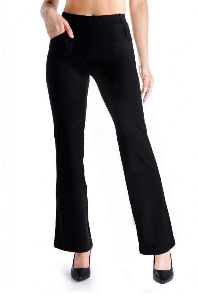 Yogipace,4 Pockets,Belt Loops,Women's Petite/Regular/Tall Bootcut Dress Yoga Work Pants (Black)
