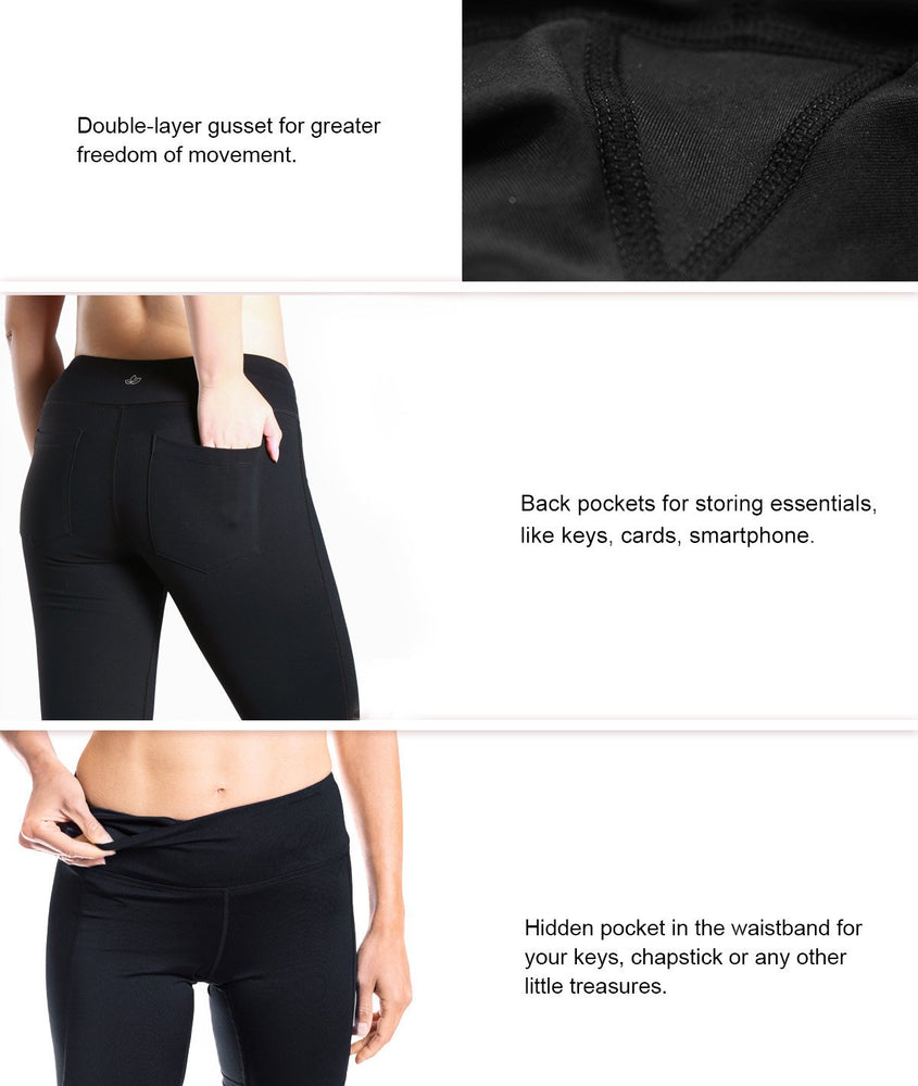 "Yogipace 27""/29""/31""/33""/35"" Women's Straight Leg Yoga Pants Workout Pants with Back Pockets (Black)"