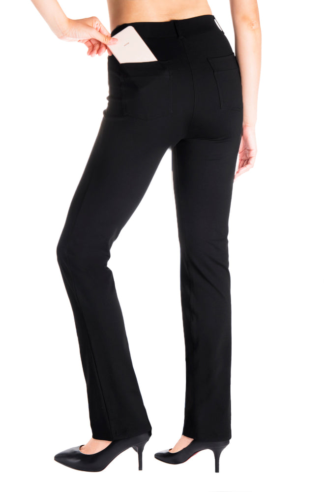 Yogipace, Belt Loops, Women's Petite/Regular/Tall Dress Pant Straight Leg Yoga Work Pants Slacks Back Pockets (Black)