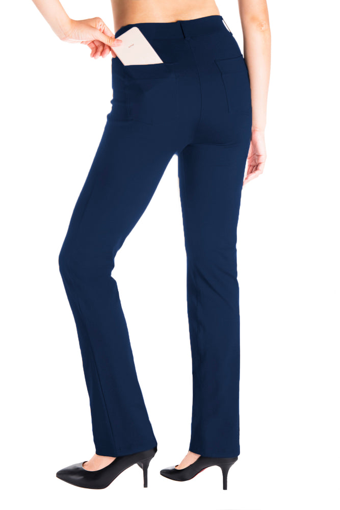 Yogipace, Belt Loops, Women's Petite/Regular/Tall Dress Pant Straight Leg Yoga Work Pants Slacks Back Pockets (Navy blue)
