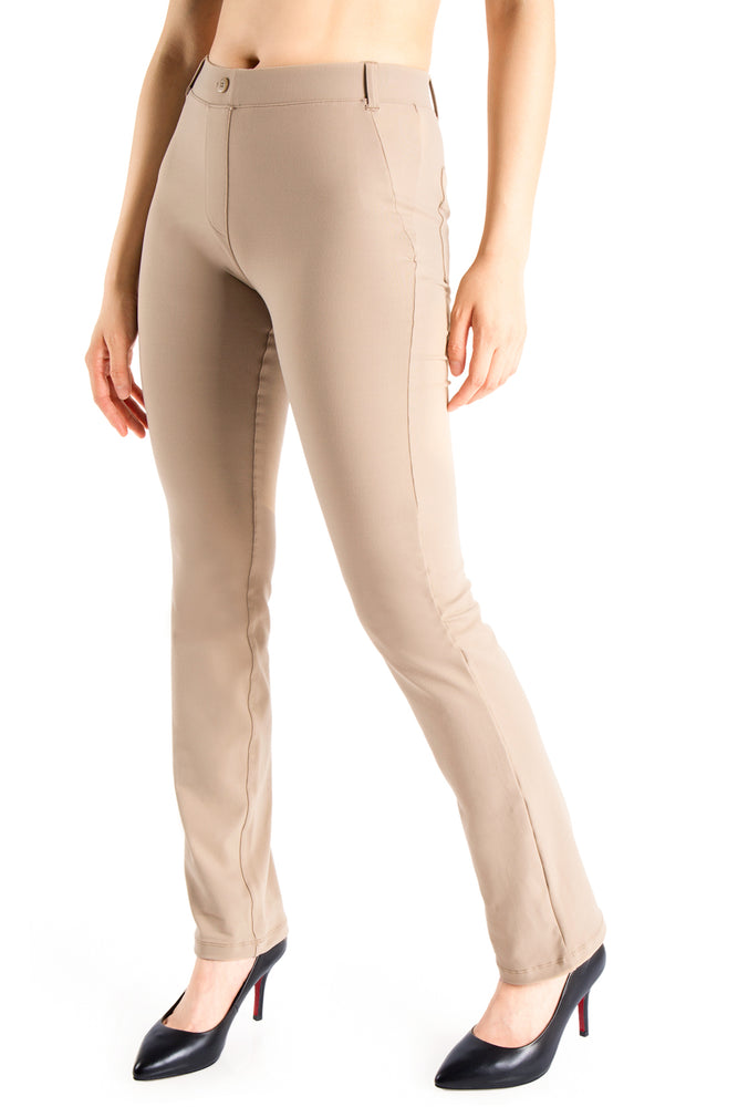 Yogipace, Belt Loops, Women's Petite/Regular/Tall Dress Pant Straight Leg Yoga Work Pants Slacks Back Pockets (Khaki)