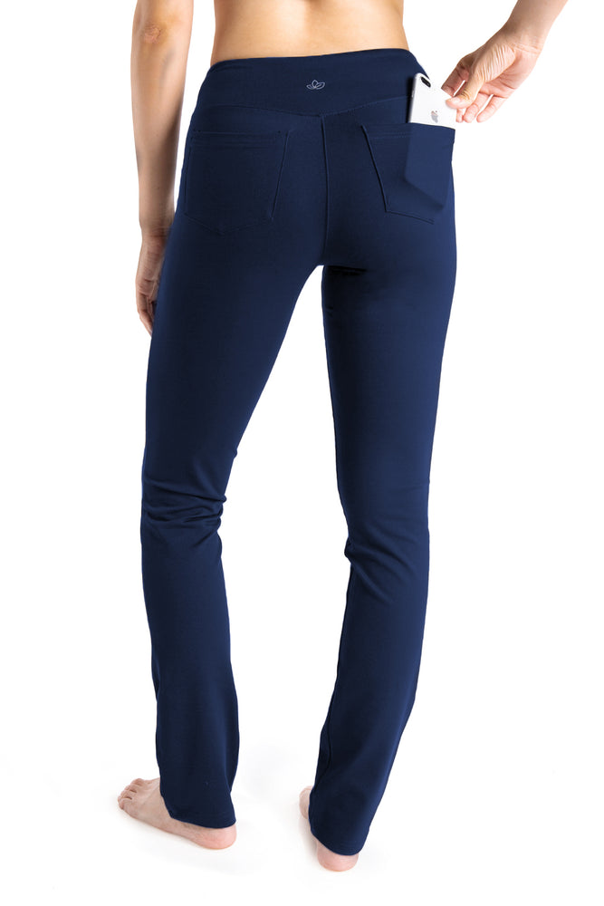 "Yogipace,5 Pockets,Women's 27""/29""/31""/33""/35""/37"" Straight Leg Yoga Pants Workout Pants (Navy blue)"