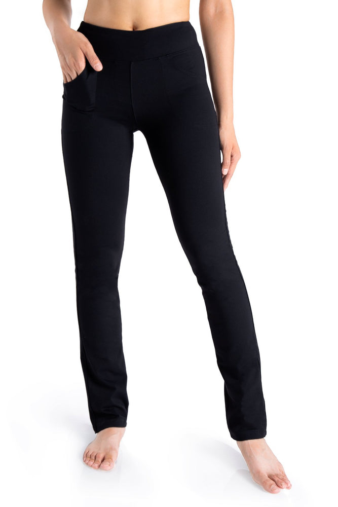 "Yogipace,5 Pockets,Women's 27""/29""/31""/33""/35""/37"" Straight Leg Yoga Pants Workout Pants (Black)"