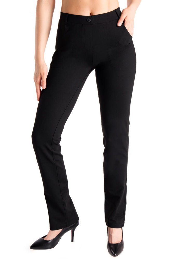 Yogipace,4 Pockets,Belt Loops,Women's Petite/Regular/Tall Straight Leg Yoga Dress Pant (Black)