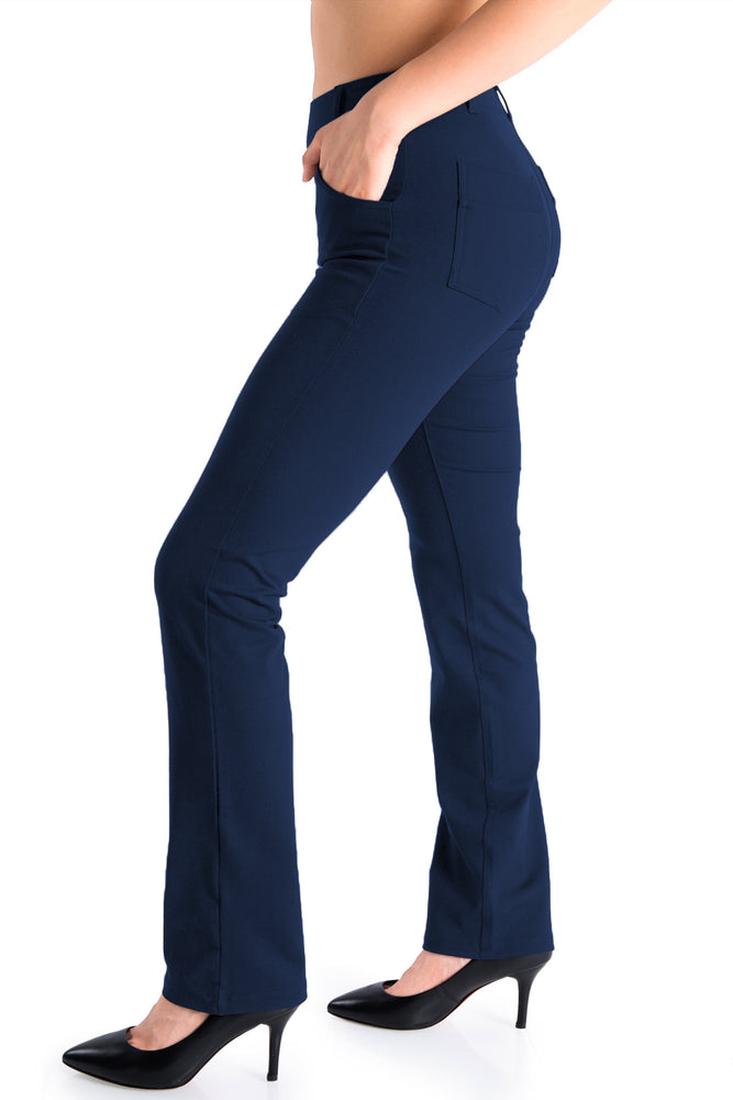 Yogipace,4 Pockets,Belt Loops,Women's Petite/Regular/Tall Straight Leg Yoga Dress Pant (Navy blue)