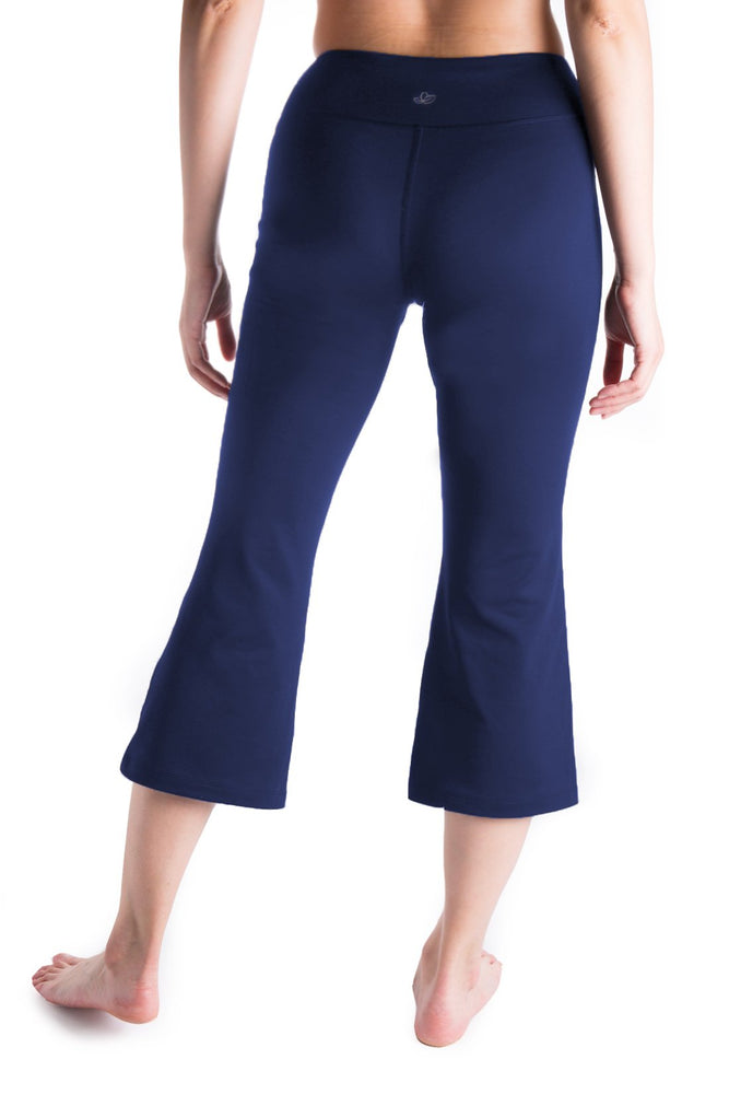 "Yogipace Women's 20""/22""/24"" Flare Capri Pants with Pockets Slim Fit Yoga Pants Lounge Crop Pant (Navy blue)"