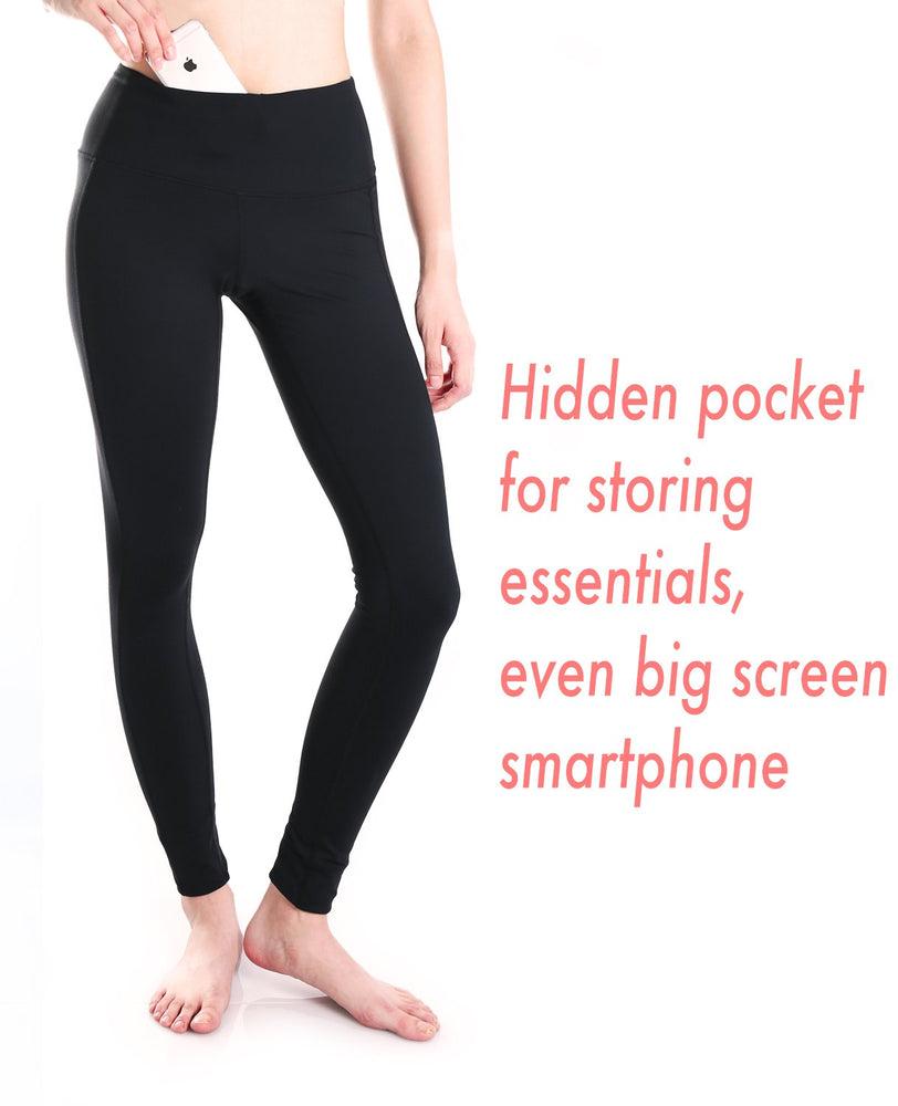"Yogipace, Petite Women's 23""/25"" High Waisted Yoga Leggings, Non see through Fabric (Black)"