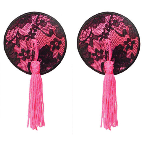 Bristols 6 Nippies Gold Pasties - Neon Pink Roxy