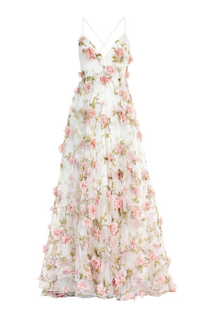Bianca Dress Ivory/Dusty Rose