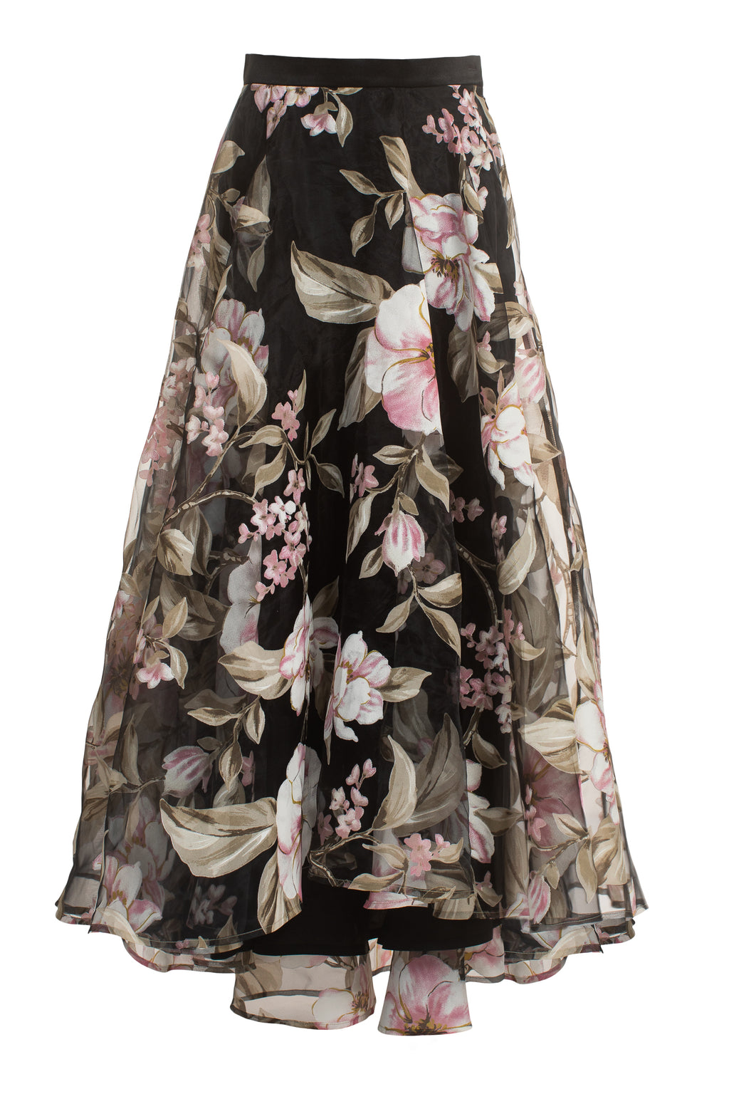 SS20 Gardenia Skirt Black Pink Flowers On Black