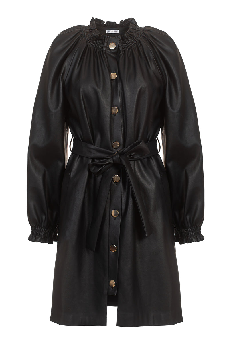 SS20 Josephine Coat/Dress Vegan leather Black