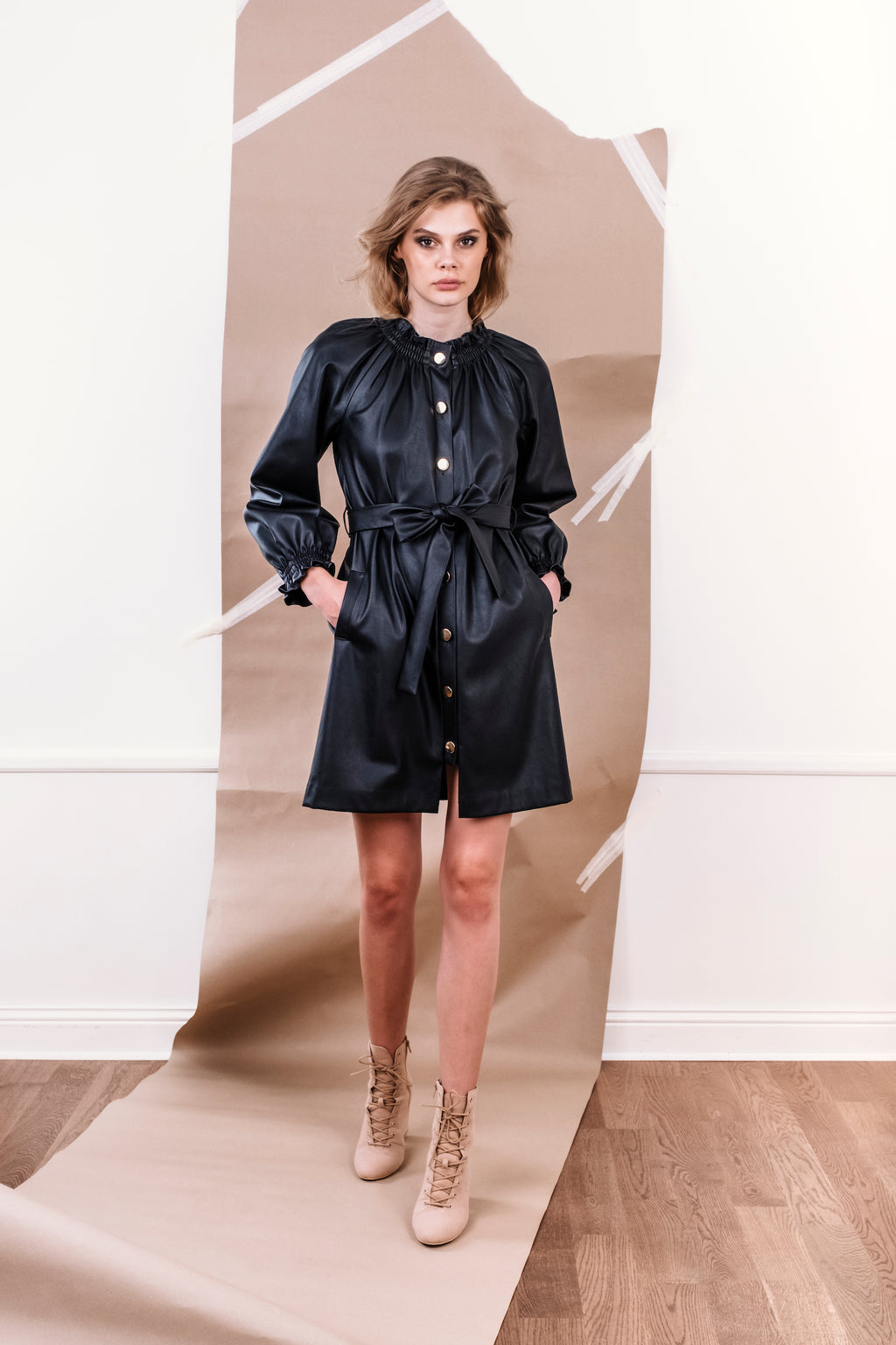 Josephine Coat/Dress Vegan leather Black