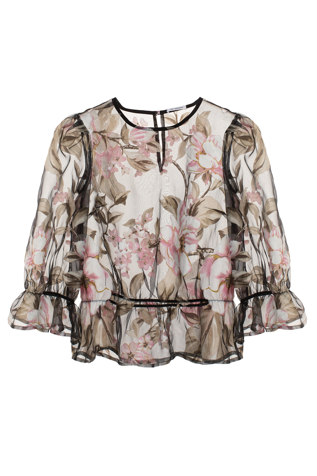 Orlando Top Pink Florals On Black