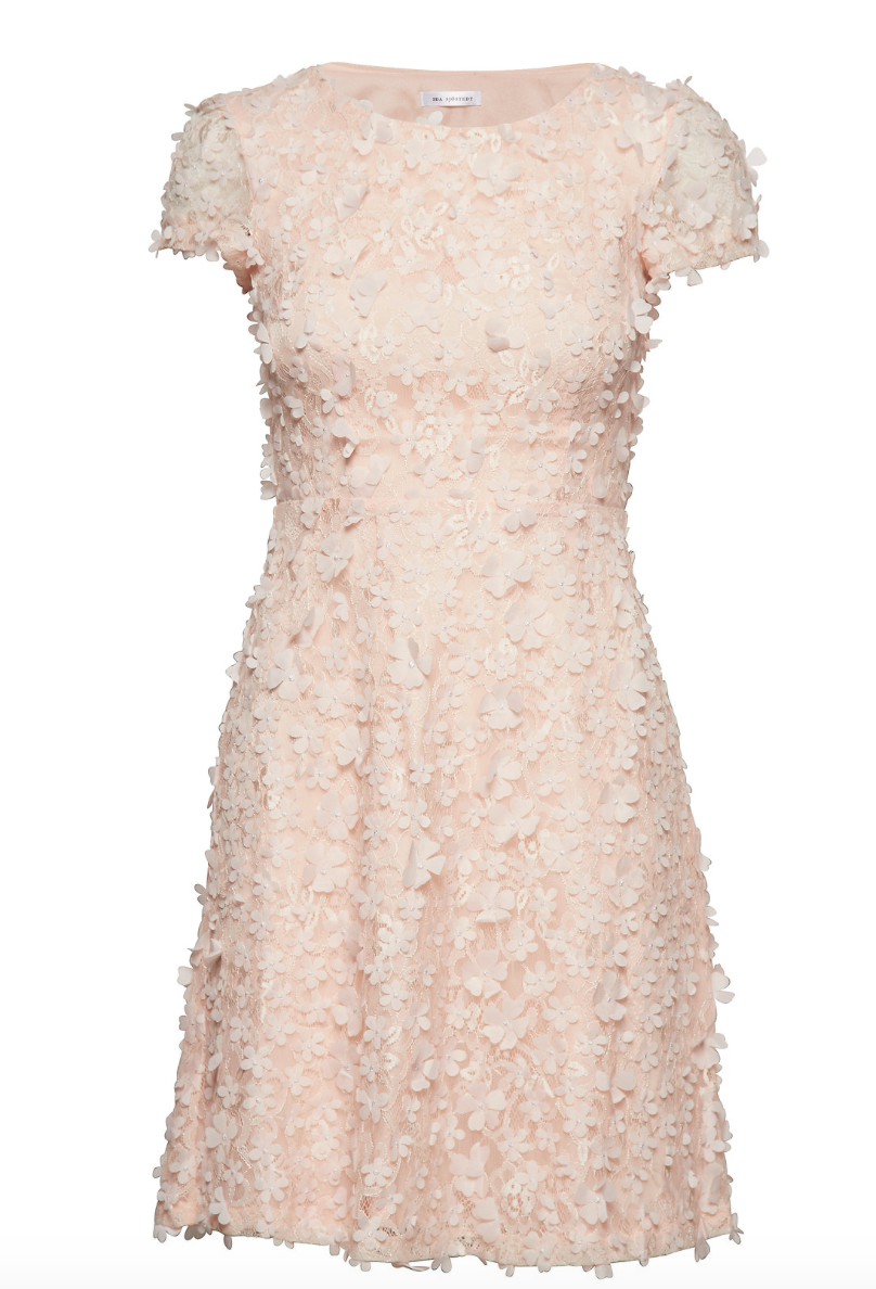 Kiera Dress Ivory & Peach
